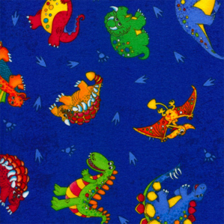 Flannel Print Blue Dinos Timeless Treasures