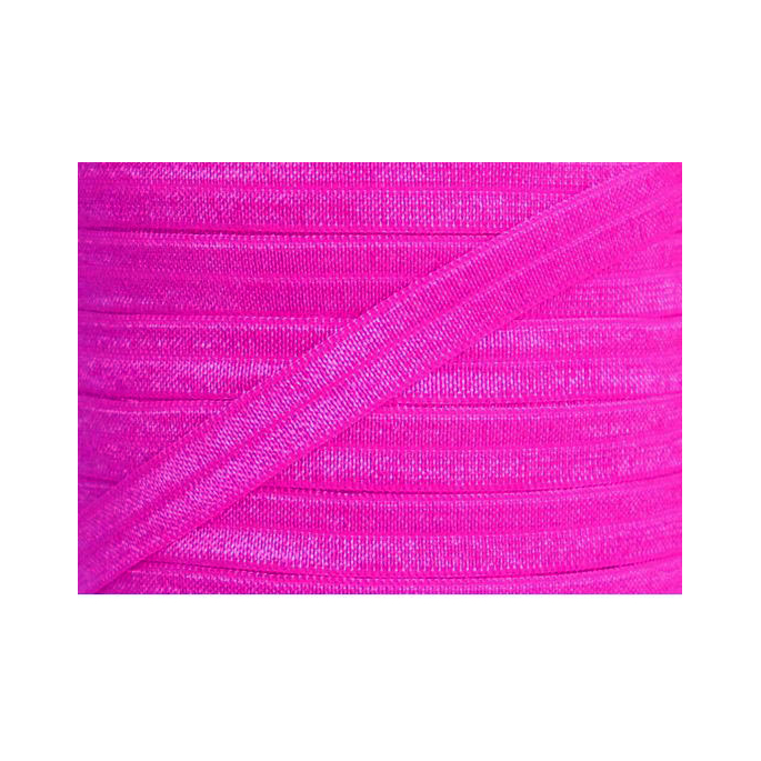 Shinny Fold Over Elastic Oekotex 15mm Bright Pink (by meter)