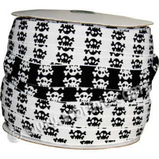 Fold Over Elastic 2.5cm / Black-White Skull (100m roll)