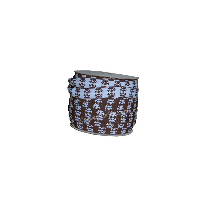 Fold Over Elastic 2.5cm / choco-Blue Skull (100m roll)