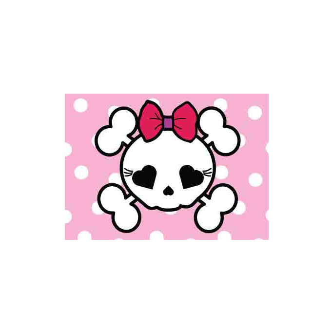 10 woven labels - Girly Pirate Skull