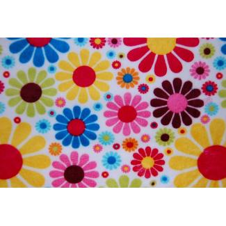 Minky - Flowers White - Robert Kaufman (per meter)