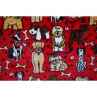 Minky - Doggies Red - Robert Kaufman (per meter)