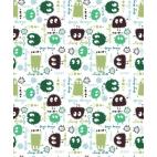 Cotton interlock Green Ooga booga (by meter)