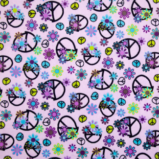 Minky - Purple Peace & Love - R. Kaufman (per meter)