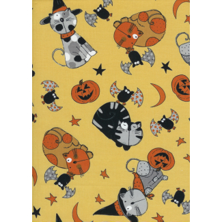 Cotton woven Halloween cats Timeless Treasures (per 10cm)