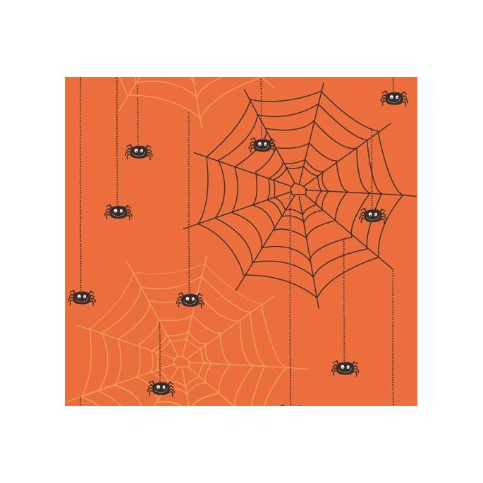 Coton imprimé Araignées Orange Riley Blake (par 10cm)