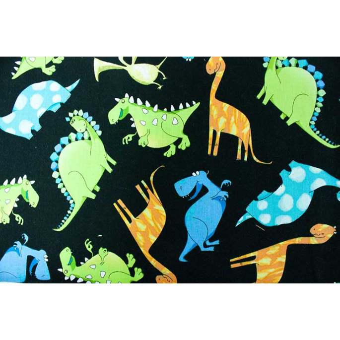 Cotton woven Dinos on black Timeless Treasure (per 10cm)