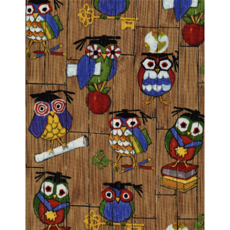 Cotton woven Teacher Owls Timeless Treasures (per 10cm)