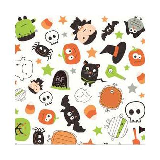 Coton imprimé Bouh Halloween Blanc Riley Blake (par 10cm)