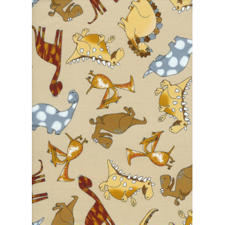 Cotton woven Dinos on cream Timeless Treasure (per 10cm)