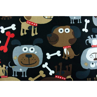 Cotton woven Big dogs on black Timeless Treasure (per 10 cm)