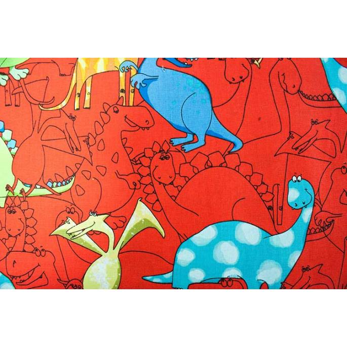 Coton imprimé Dinos rouge Timeless Treasure (par 10cm)