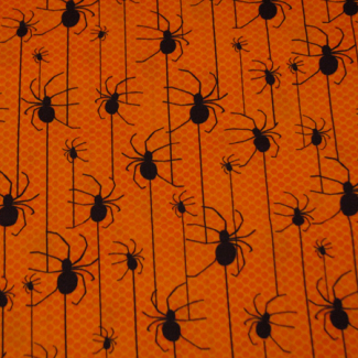 Cotton woven Spiders on Orange Robert Kaufman (per 10cm)