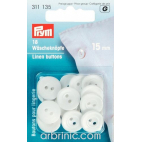 Linen Buttons 15mm - white (18 pieces)