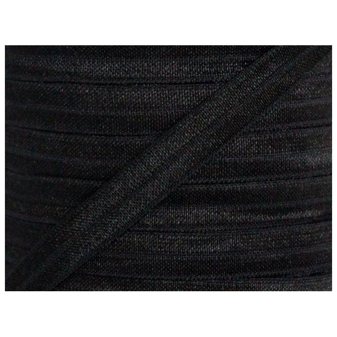 Shinny Fold Over Elastic Oekotex 15mm Black (by meter)