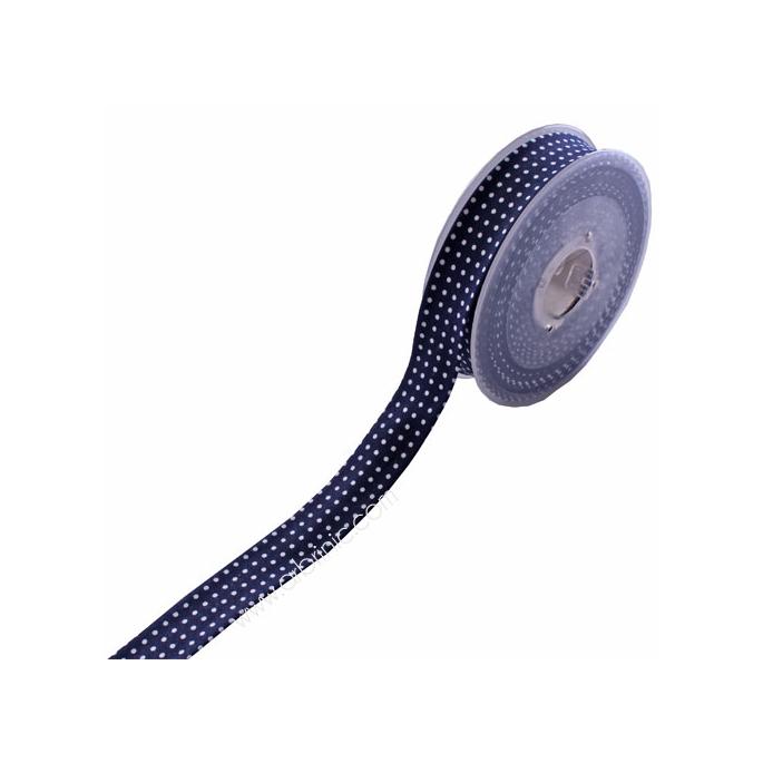 Biais fantaisie à Pois Blanc sur Bleu Marine 20mm (bobine 12m)