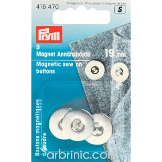 Magnetic sew-on Buttons 19mm Silver (x3)