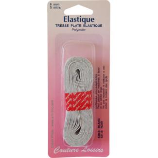 Elastique Tresse 6mm 8 gommes Blanc (5m)