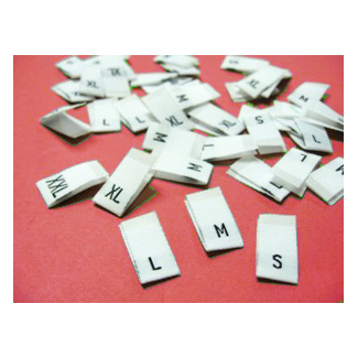"10 woven labels ""S"" (white background)"