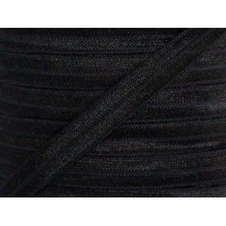 Shinny Fold Over Elastic Oekotex 15mm Black (25m bobin)
