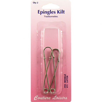 Epingles de Kilt Traditionnelles Couleur Nickel 75mm (x2)
