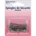 Safety Pins Nickel Assortment 33mm & 38mm (x12)