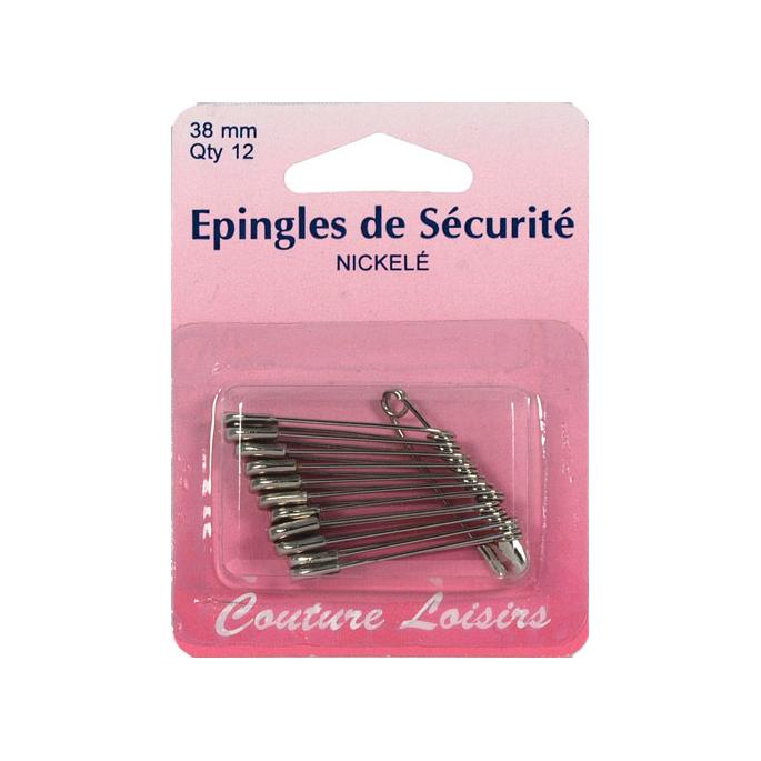Safety Pins Nickel 38mm (x12)