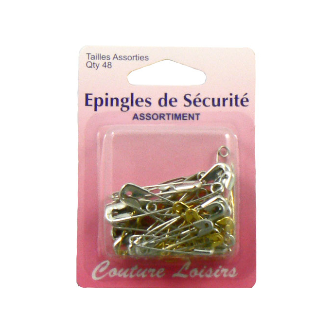 Safety Pins in 6 Assorted sizes and 2 colors (x48)