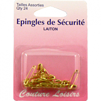Safety Pins brass Assorted small sizes (x24)