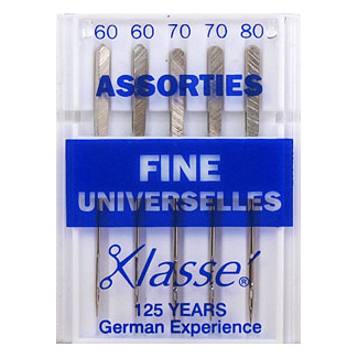 Machine needles Universal Assorted sizes 60-70-80 fines (x5)