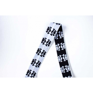 Biais élastique 2.5cm Print Skulls Black & White (1m)
