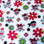 Minky - Pirates Roses fond blanc - Robert Kaufman (au mètre)
