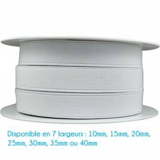 Ribbed Elastic White 15mm (by meter)