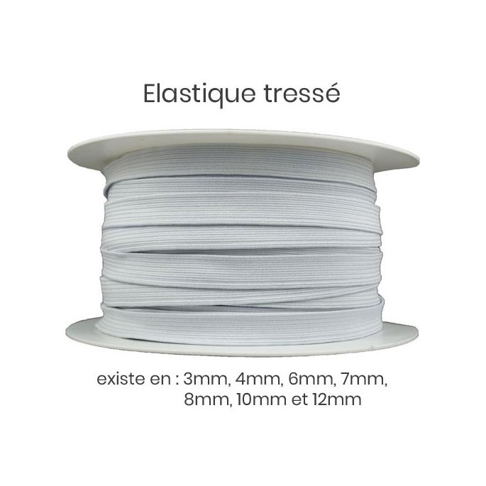 Elastique Tressé 8mm 12 gommes Blanc (au mètre)