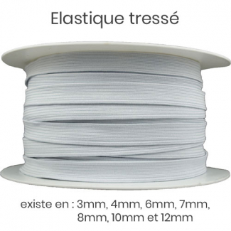 Braided Elastic 10mm White (m)