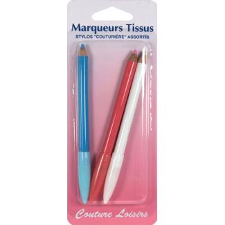 Crayons marqueurs pour tissu (3 couleurs)