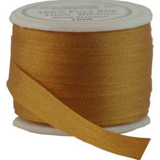 Silk Ribbon 7mm Golden Tan (10m spool)
