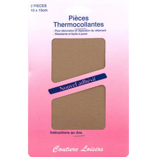 Pièce thermocollante - Coton Beige (x2)