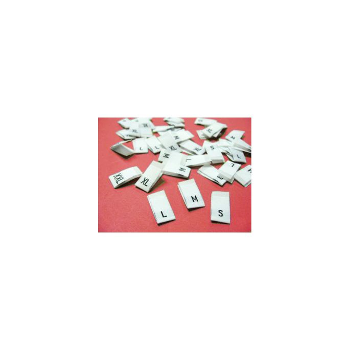 """10 woven labels """"M"""" (white background)"""