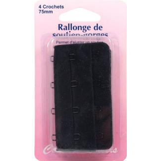 Rallonge Soutien-gorge 75mm 4 crochets - Noir