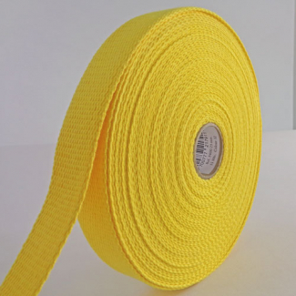 Sangle coton 23mm Jaune (bobine 15m)