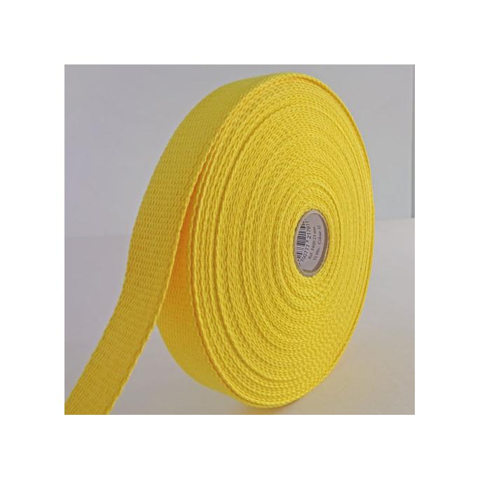 Sangle coton 23mm Jaune (bobine 15m)