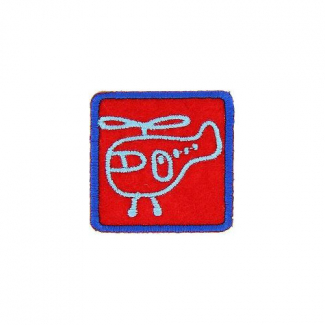 Iron-on Embroidery Patch Red Helicopter
