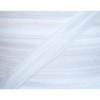 Shinny Fold Over Elastic Oekotex 15mm White (25m bobin)