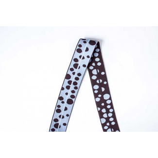 Biais élastique 2.5cm Print Dots Blue & Brown (1m)