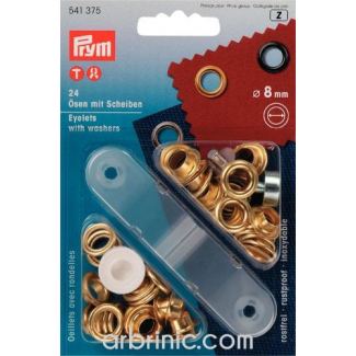 Eyelets 8mm Gold with tool (x24)