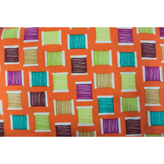 Cotton Print Cool Spools Orange Michael Miller per 10cm