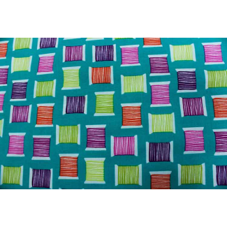 Cotton Print Cool Spools Teal Michael Miller per 10cm