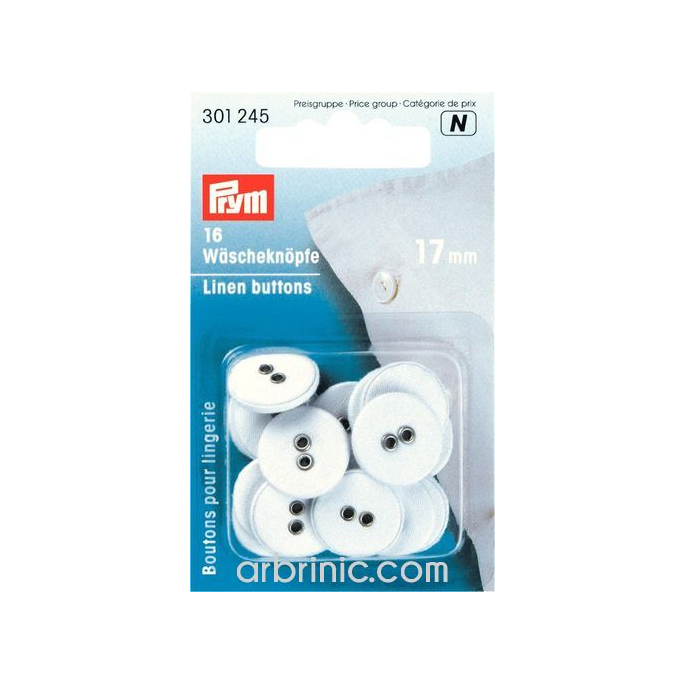 Boutons Lingerie 17mm - recouverts coton (16 boutons)
